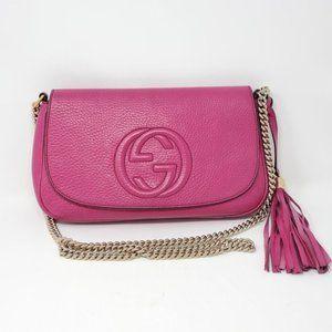 Auth Gucci Soho Fuchsia on Chain Crossbody Bag
